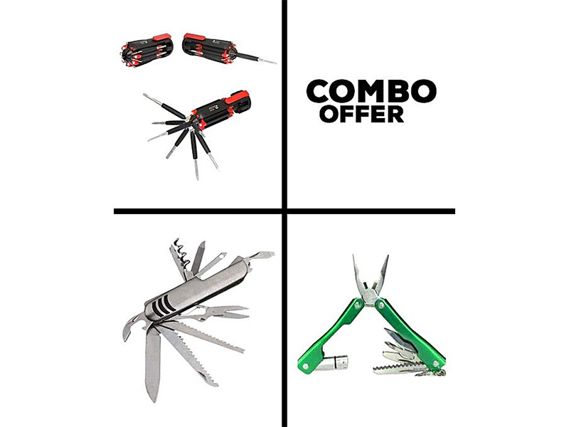Combo of 8 in 1 Screwdriver, 14 in 1 Macgiber and 9 in 1 Folding Plier
