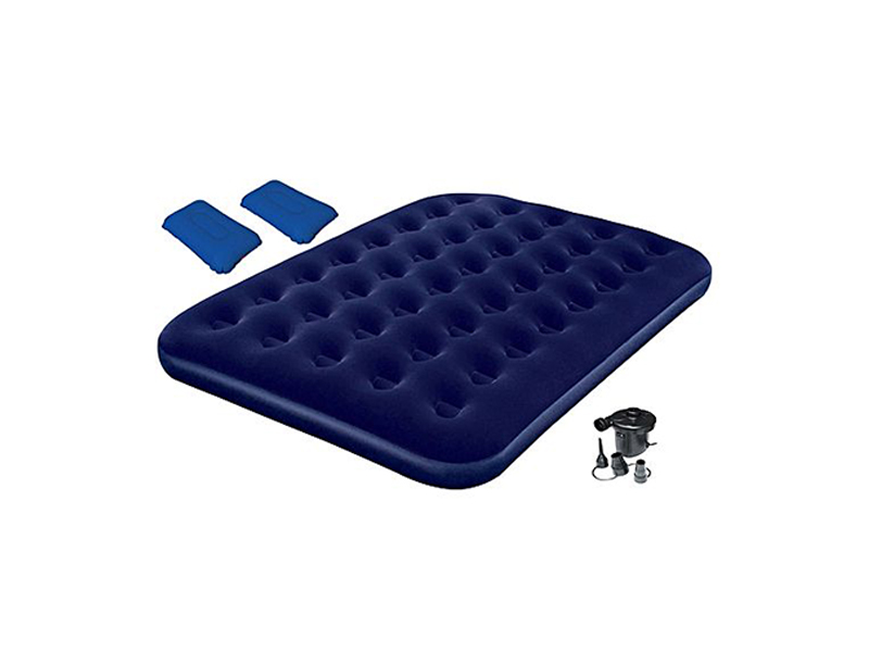 Bestway Comfort Quest Inflatable Double Size Flocked Camping Air Bed with Pump - Blue