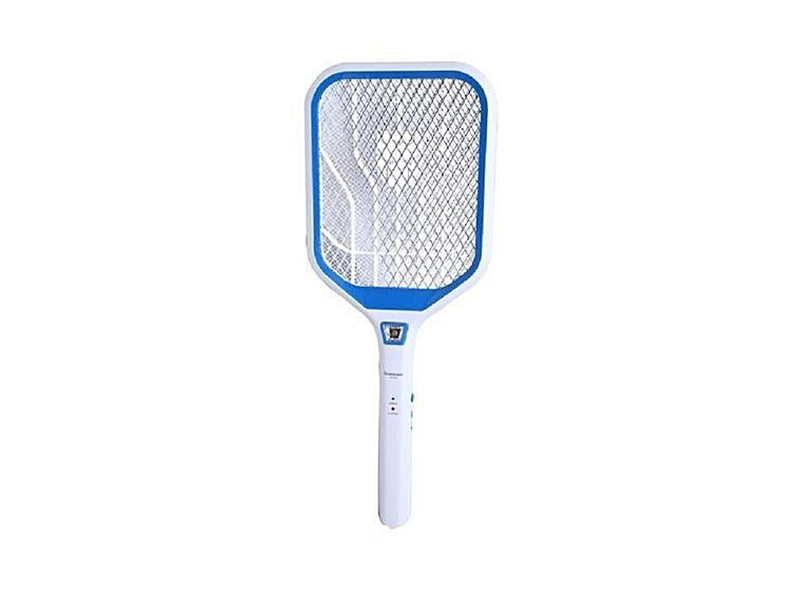 Mosquito Killer Racket with Charging Cable and Emergency LED Light-White and Blue