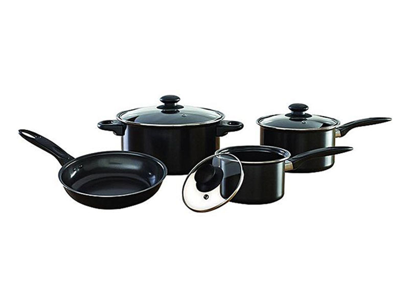 Kiam Non Stick 7 PCs Cookware Set - Black