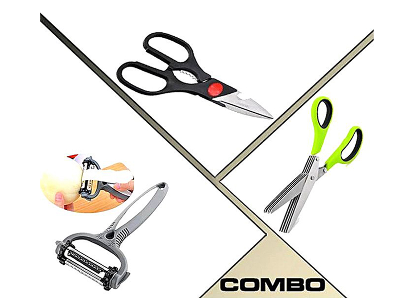 Kitchen Scissors, Fish Cutter and 3 In 1 Roto Peeler Combo