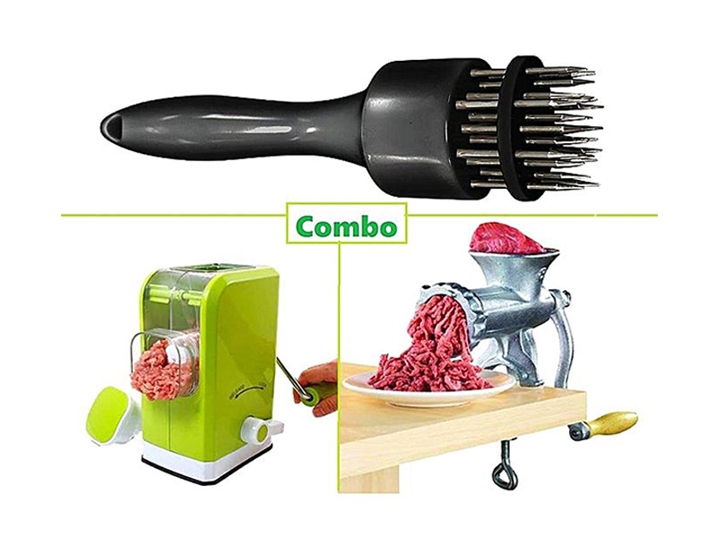 Meat Tenderizer with Meat Grinder and Meat Mincer Combo set- Multicolor