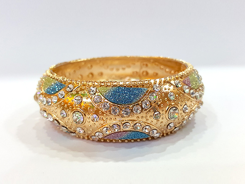 Golden Metal  Colourful Imitation Bangles For Women - 1 Pcs