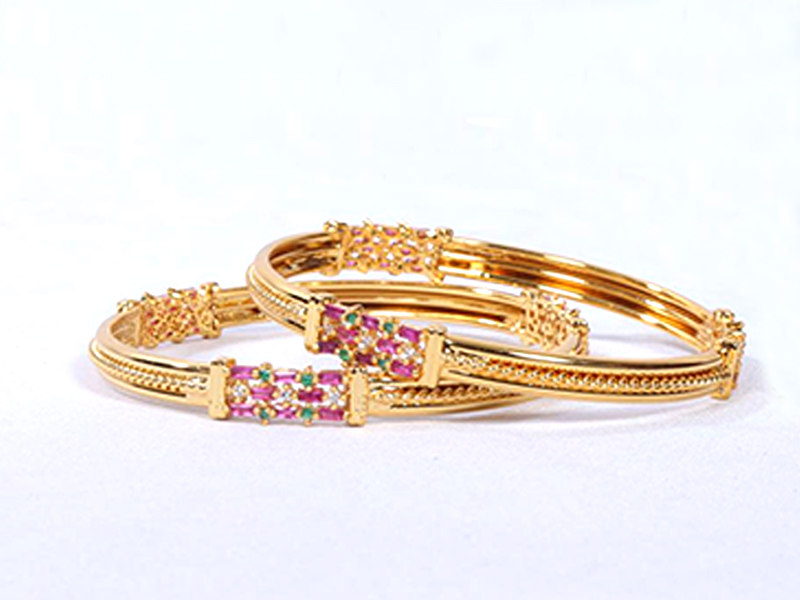 Stone Gold Platted Imitation Bangles For Women