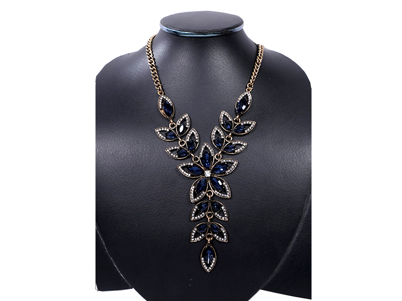 Blue Stone Flower Imitation  Necklace For Women