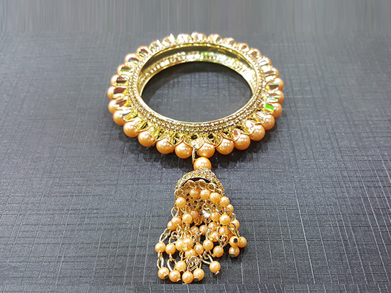 Indian Golden  Pearl Setting  Imitation Churee