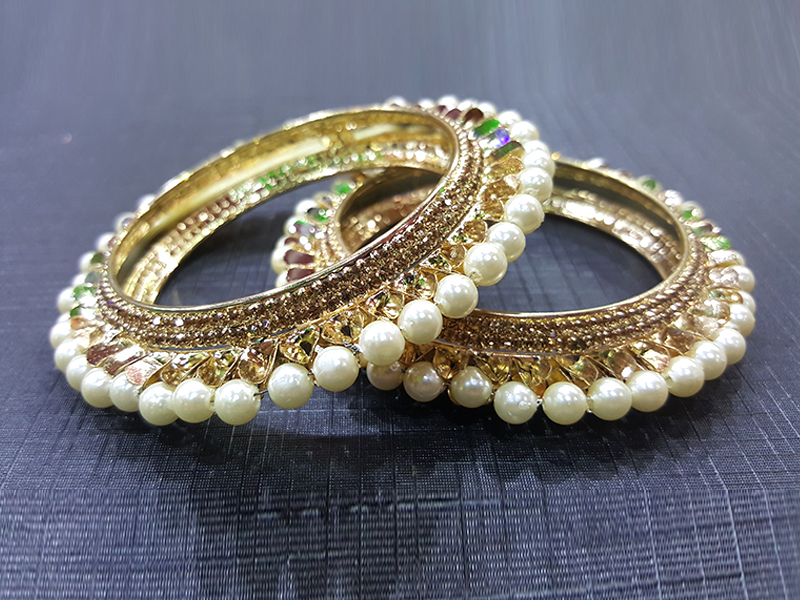 2 Piece White Pearl Gold Plated Imitation Churee Set