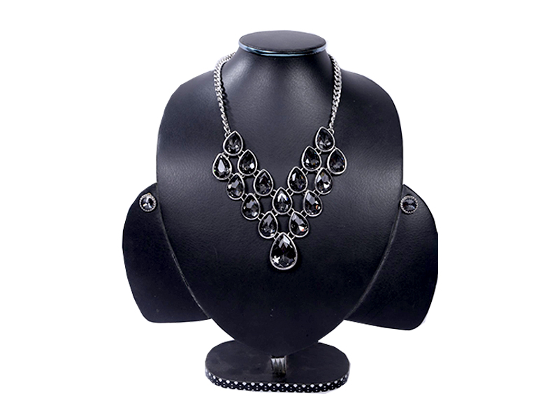 Black and Silver Stone Nacklace Set For Women