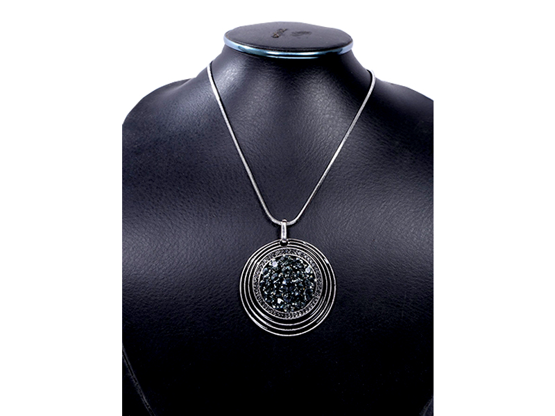 Black Stone Round Imitation Pendent with Chain For Women