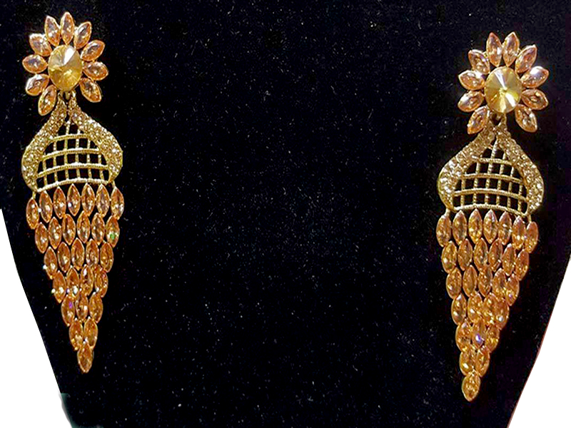 Golden Stone Long Party Imitation Earring