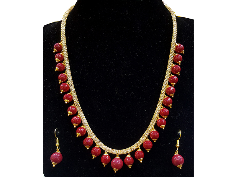 Red Artificial Pearl Jewelry Set for Women