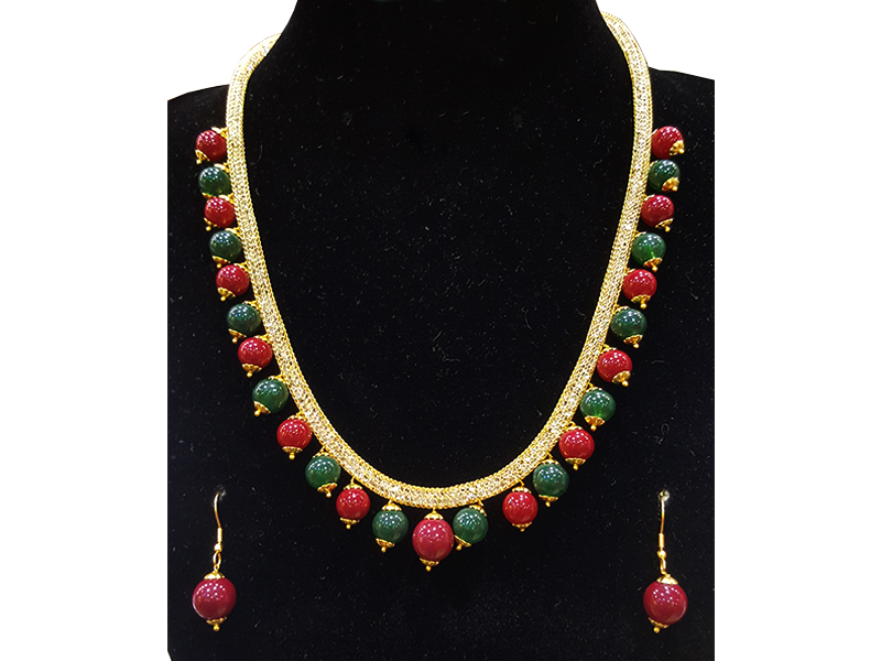 Red and Green Artificial Pearl Jewelry Set for Women