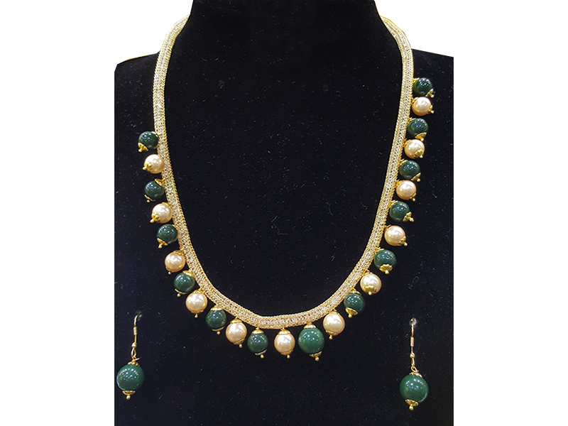 Green and Golden Artificial Pearl Jewellery Set for Women