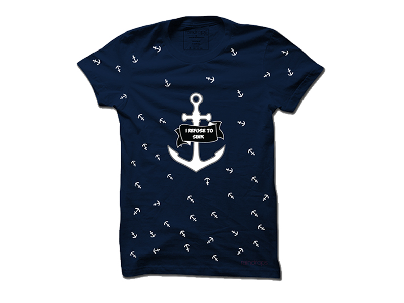 Raindrops Refuse to Sink T-Shirt-Navy Blue