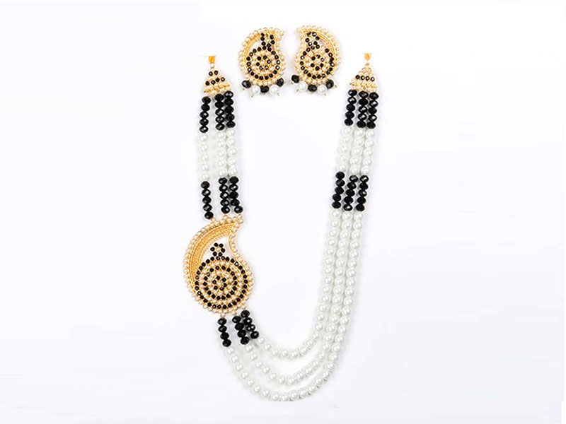 Artificial Pearl  Imitation Necklace Set - Black and White