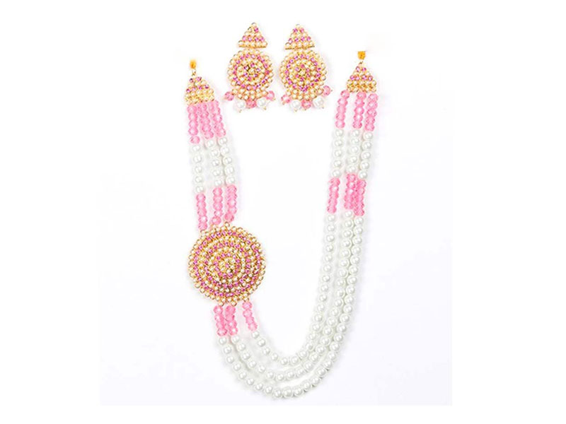 Artificial Pearl   Imitation Necklace Set - Pink and White