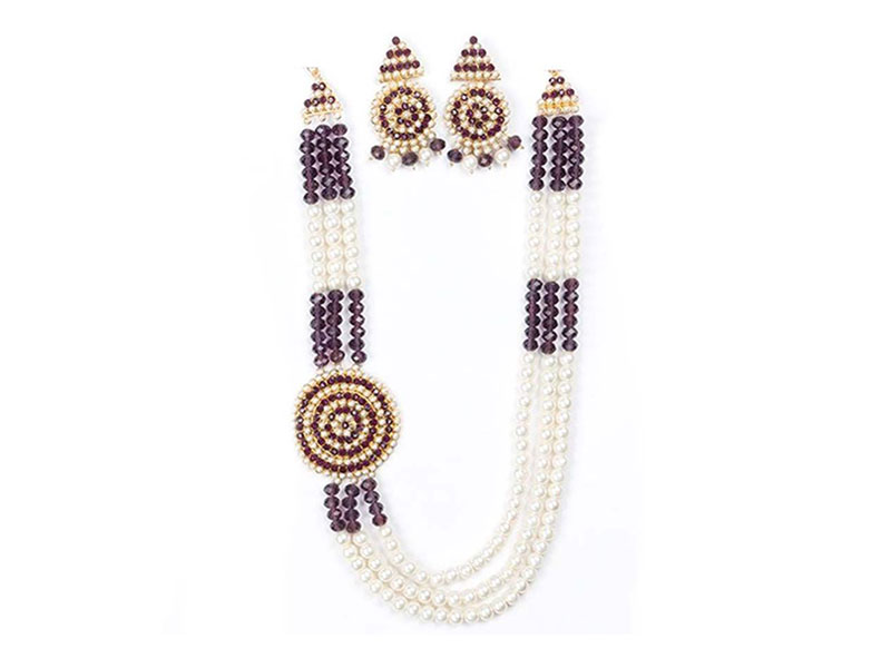 Artificial Pearl  Imitation Necklace Set - Maroon and White