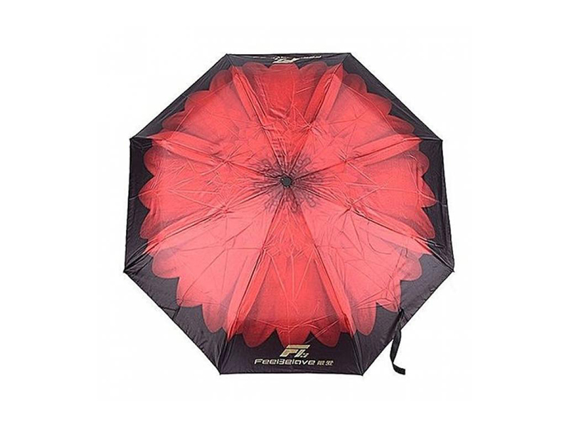 Polyester Printed Windproof Umbrella with LED Light - Black and Red