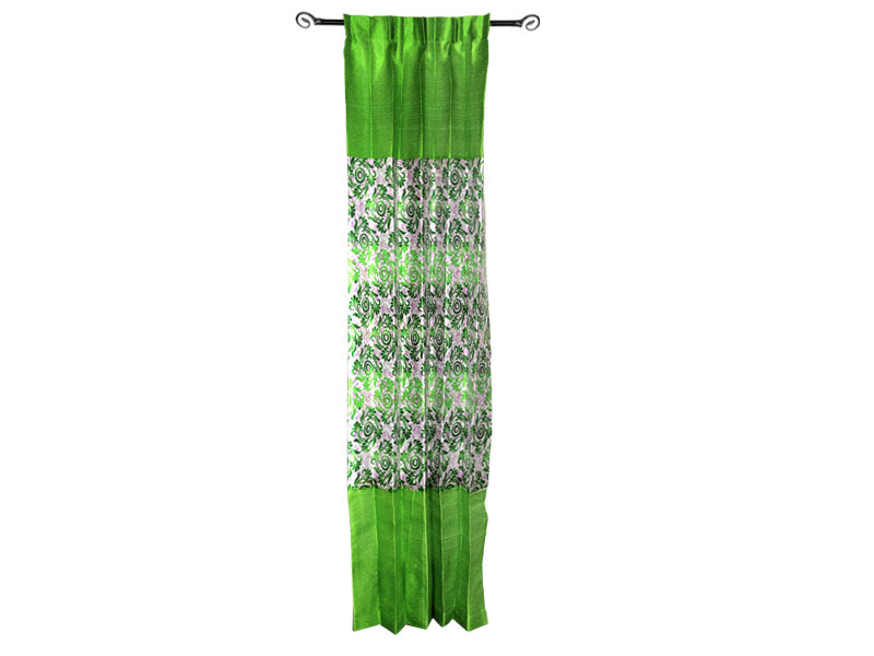 Green Satin Fabric Curtain