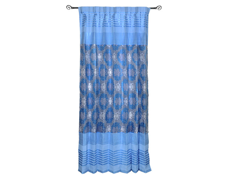 Sky Blue Satin Fabric Curtain