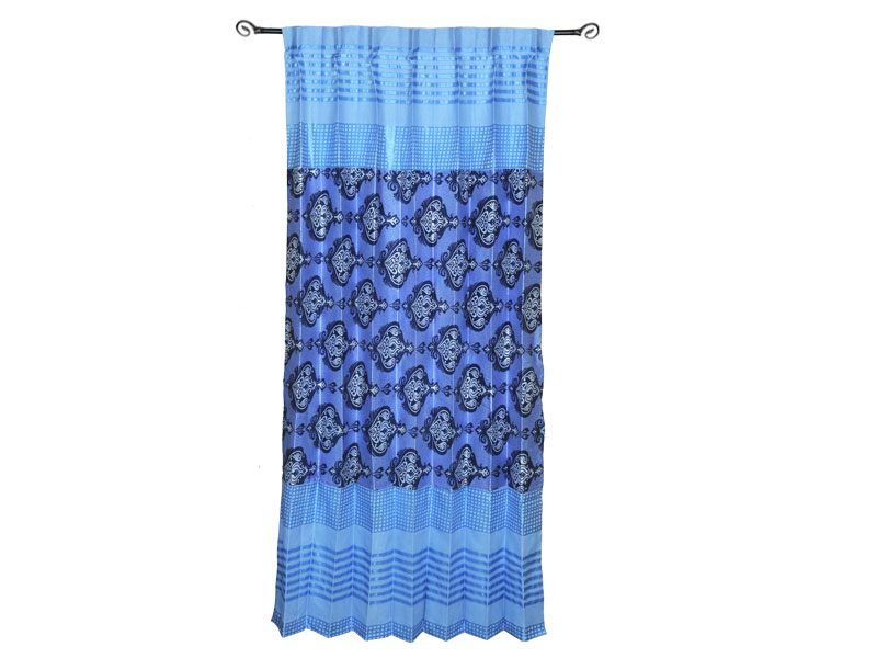 Sky Blue-Dark Blue  Satin Fabric Curtain
