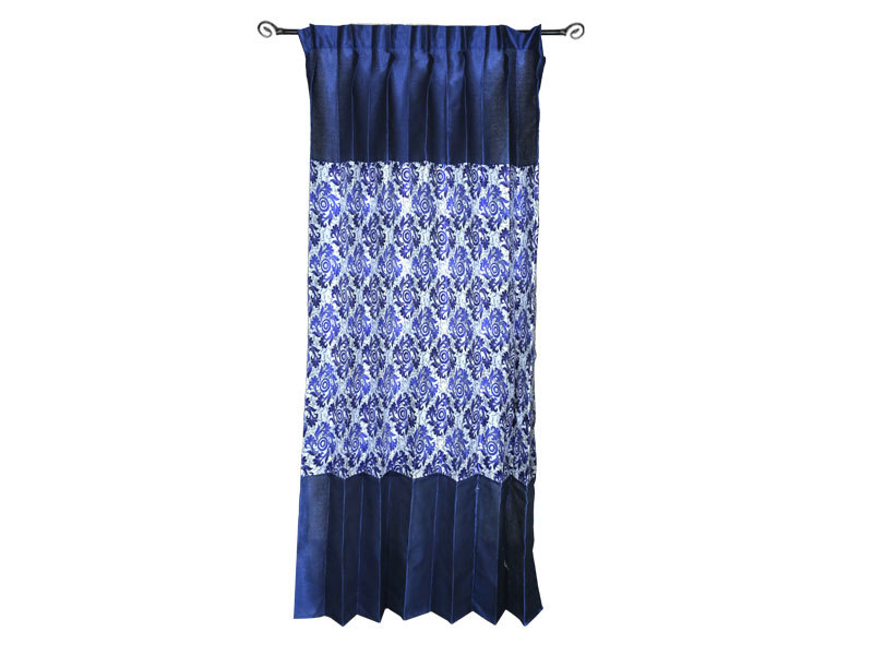 Dark Blue Satin Fabric Curtain