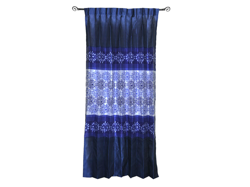 Blue & Silver Satin Fabric Curtain