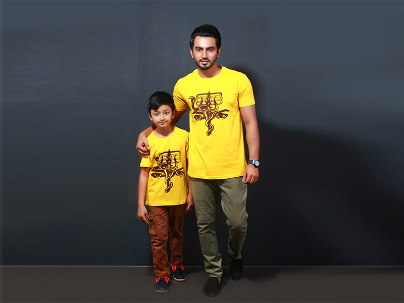 Stylish Men's & Kid's T-Shirt By Swapon's World- SW3400T (M - M)