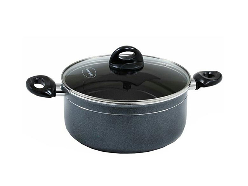 Non-Stick Casserole With Glass Lid - Black-36cm