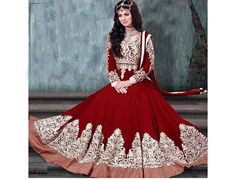 Full Sleeve Red Color Party Dress