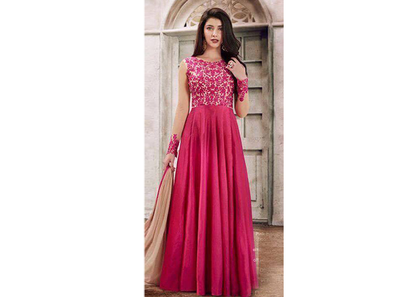 Pink Color Half Sleeve Party dress
