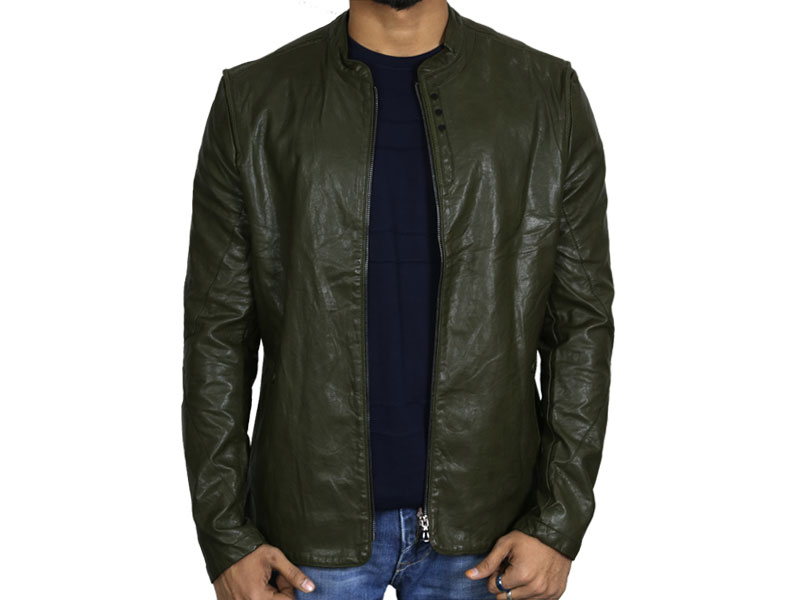 PU Army Green Leather Jacket for Men