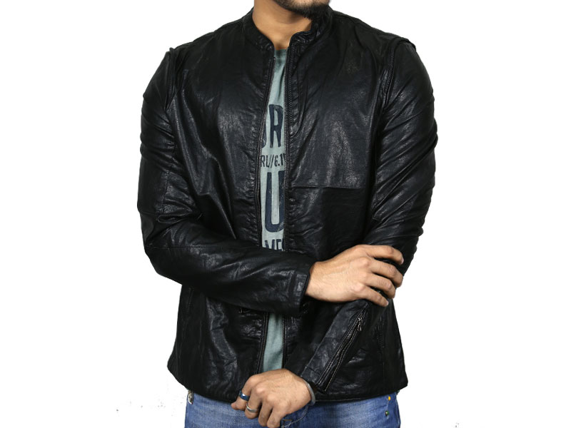 PU Black Leather Jacket for Men