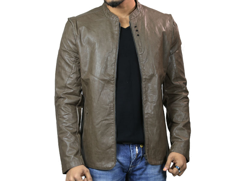 PU Taupe Brown Leather Jacket for Men