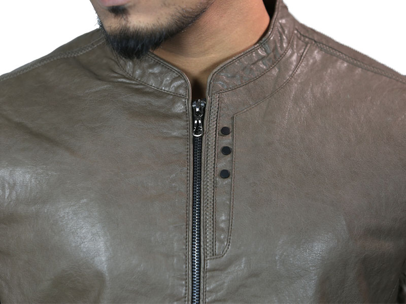 PU Taupe Brown Leather Jacket for Men (XXL)