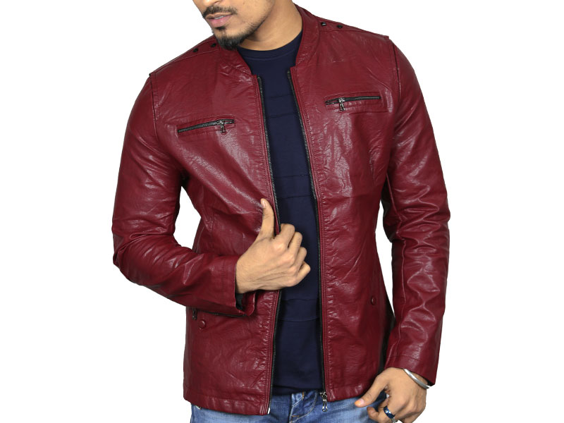 PU Brick Red Leather Jacket for Men