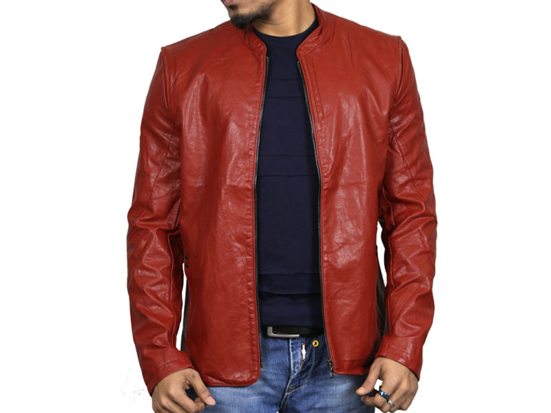 PU Rust Orange Leather Jacket for men