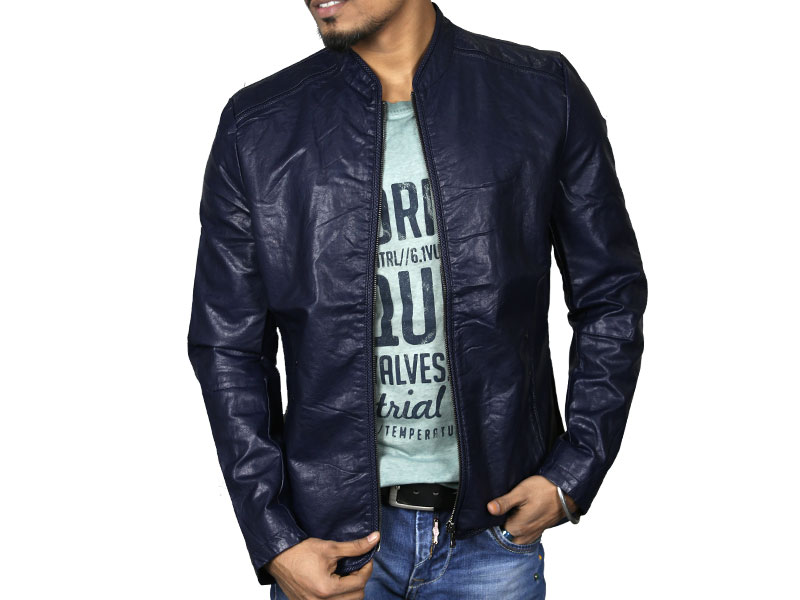 PU Navy Blue Leather Jacket for Men
