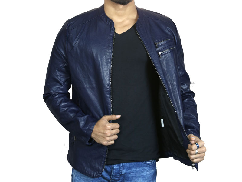 PU Dark Blue Leather Jacket for Men
