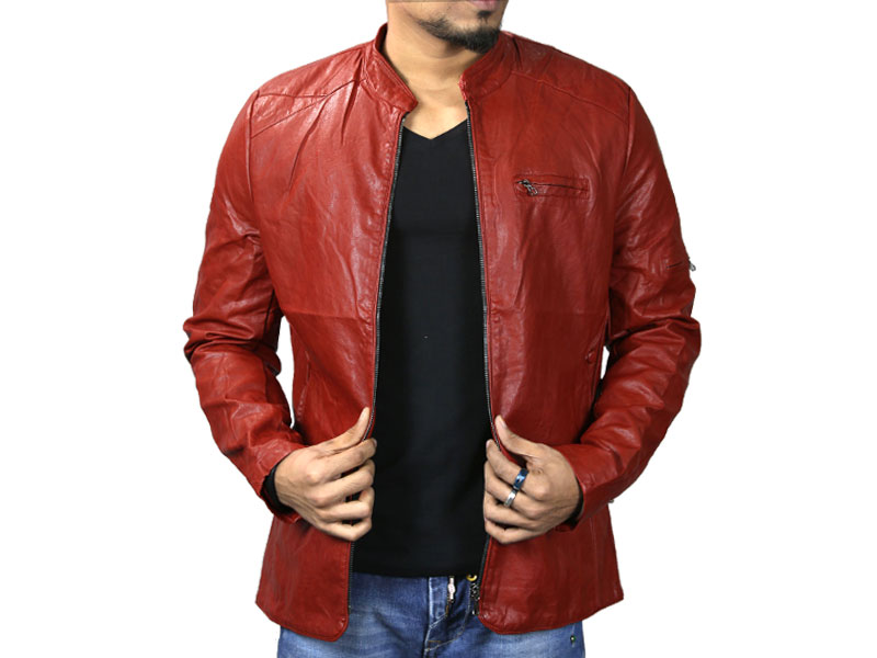 PU Deep Orange Leather Jacket for Men