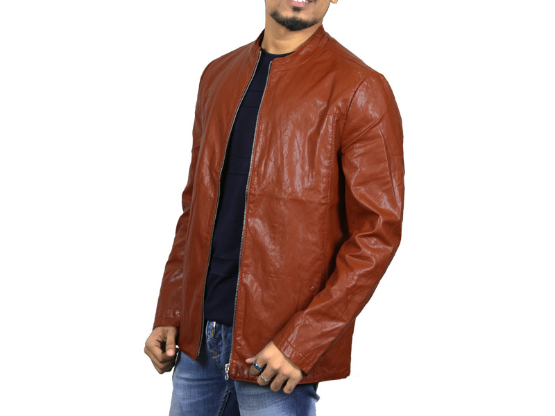 PU Amber Orange Leather Jacket for Men