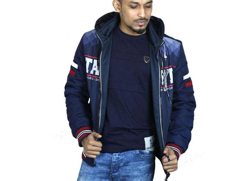 3D Print Men's Hoodie Sweater Jacket- Navy Blue