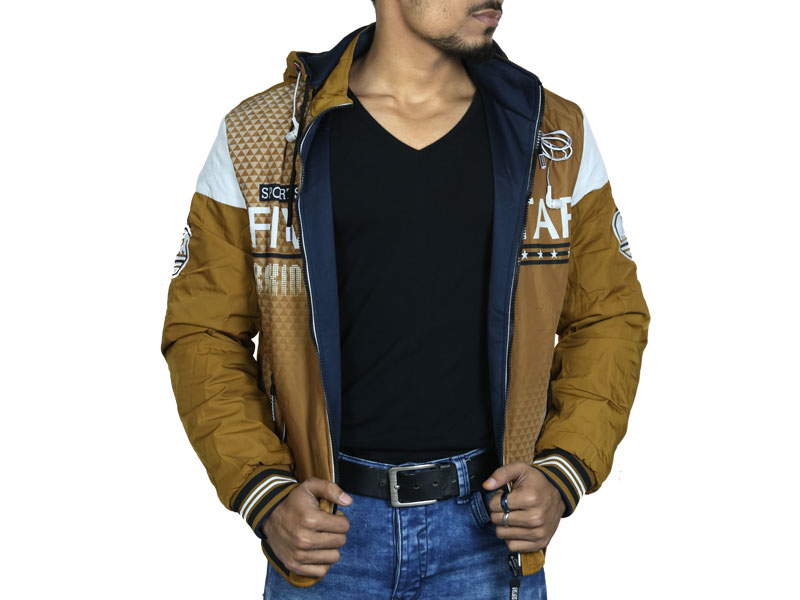 3D Print Men's Hoodie Sweater Jacket-Brown and Navy Blue
