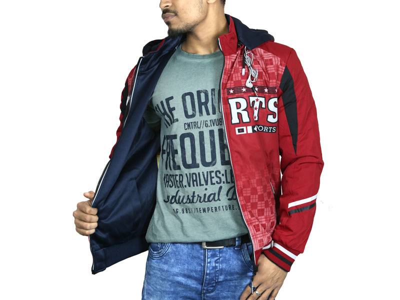 3D Print Men's Hoodie Sweater Jacket-Red and Navy Blue