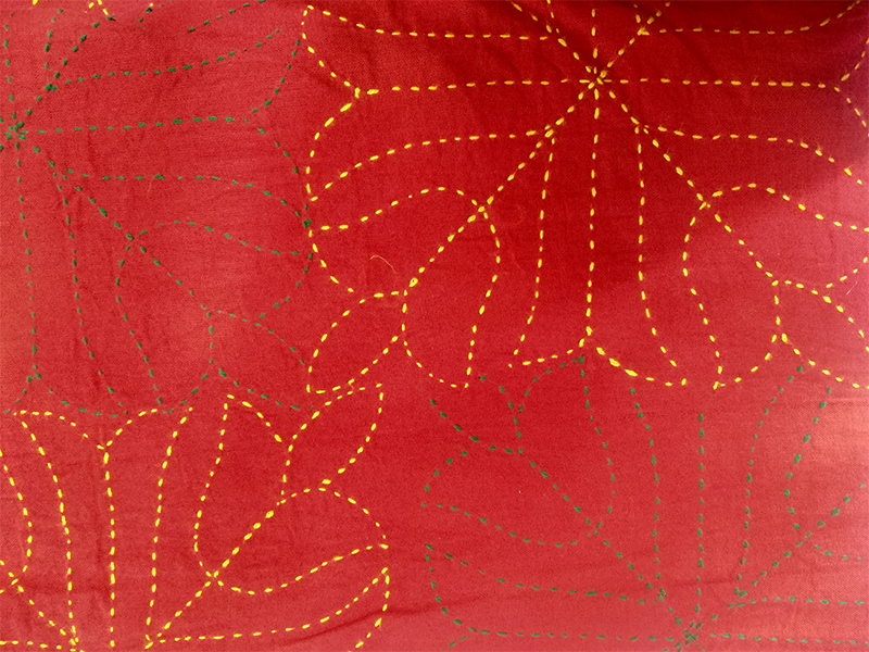 Cotton King Size Nakshi Khatha- Red & Yellow