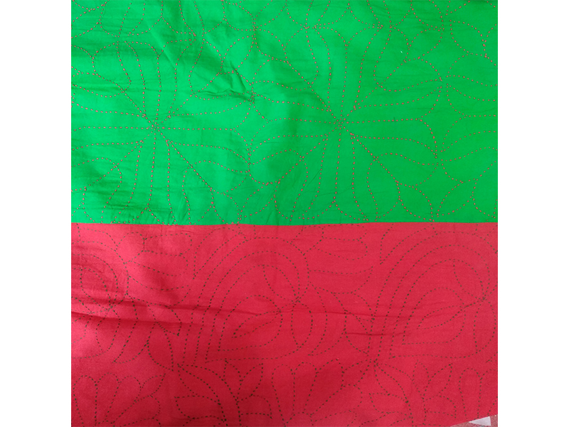 Cotton King Size Nakshi Khatha-Red & Green