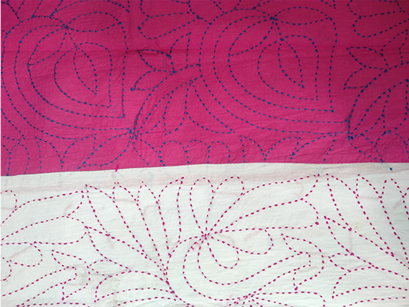 Cotton King Size Nakshi Khatha-Magenta & White