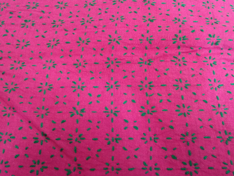 Cotton King Size Nakshi Khatha-Magenta & Green