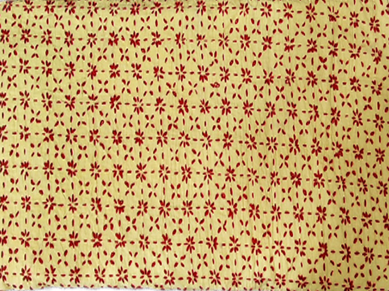 Cotton King Size Nakshi Khatha-Light Yellow & Red