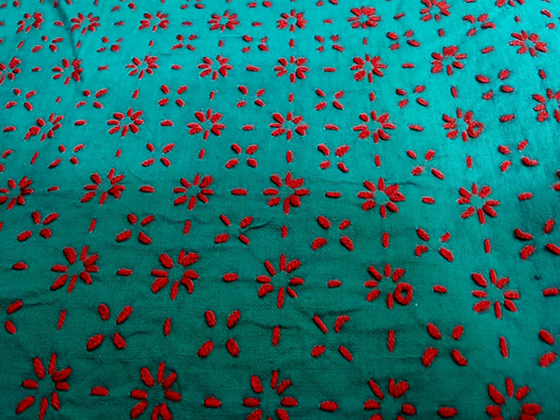 Cotton King Size Nakshi Khatha-Sea Green & Red